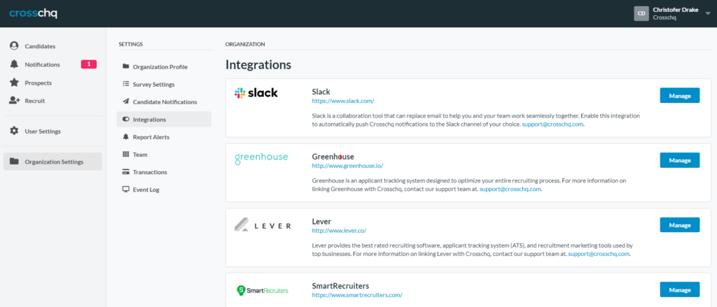 Slack Integrations Page